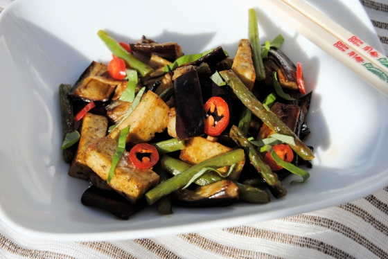 tofu aubergine curry in bowl