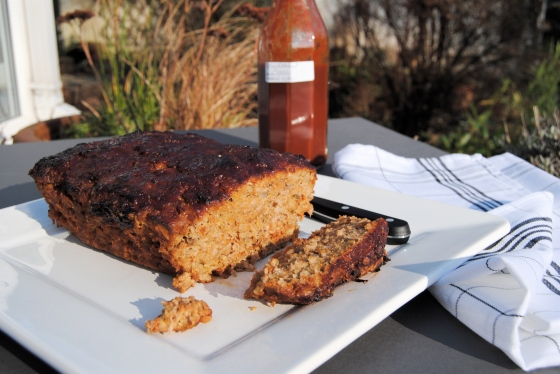 turkey meatloaf outside with hm ketchup