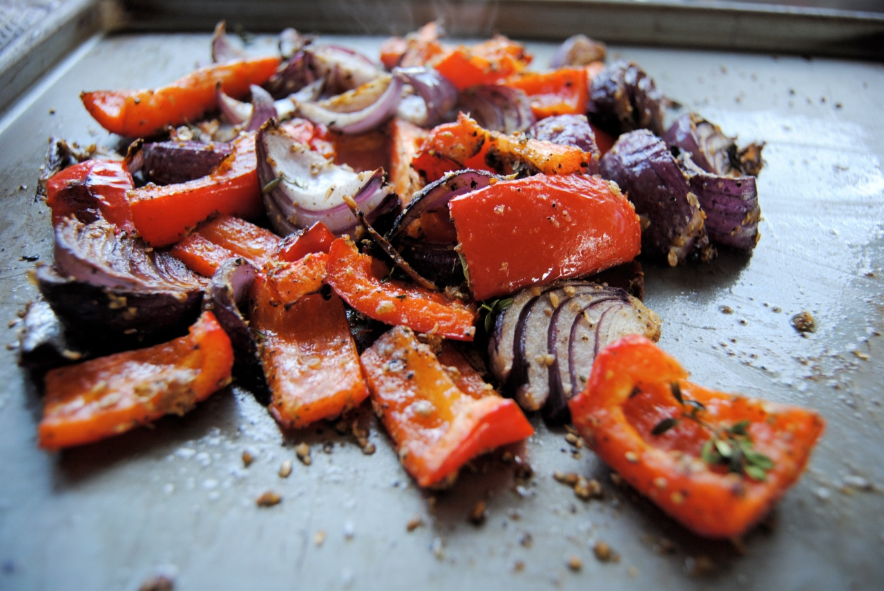 roast red onions and pepeprs