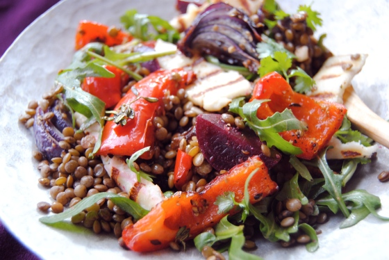 plated roasted beetroot, pepper andlentil salad