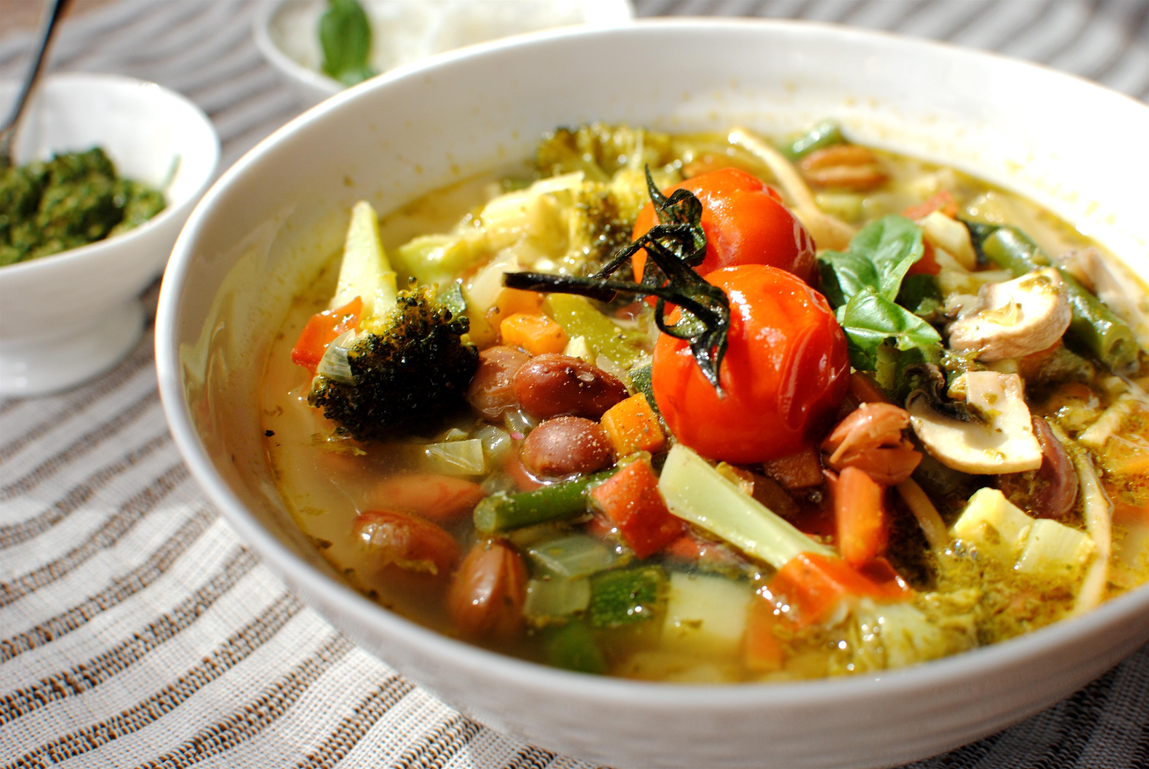 Kitchen-sink Spring Minestrone and Spring Green Pesto Focaccia | food ...