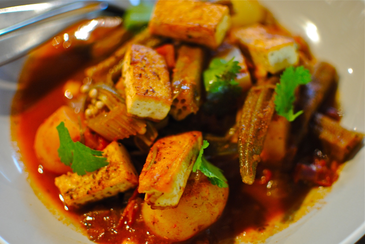 North african okra tagine with spiced crispy tofu food for Afrikaans cuisine