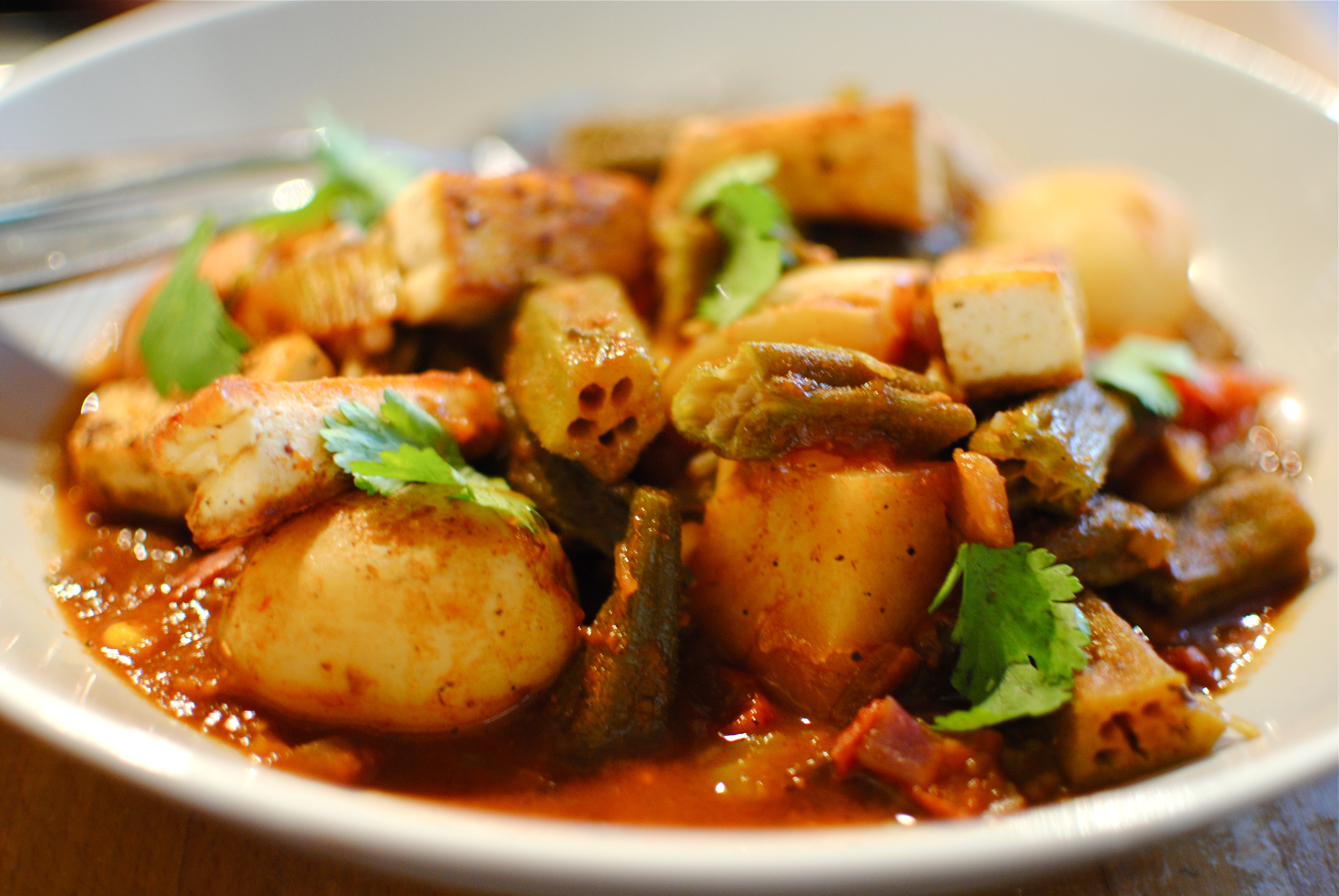 North african okra tagine with spiced crispy tofu food for African food cuisine