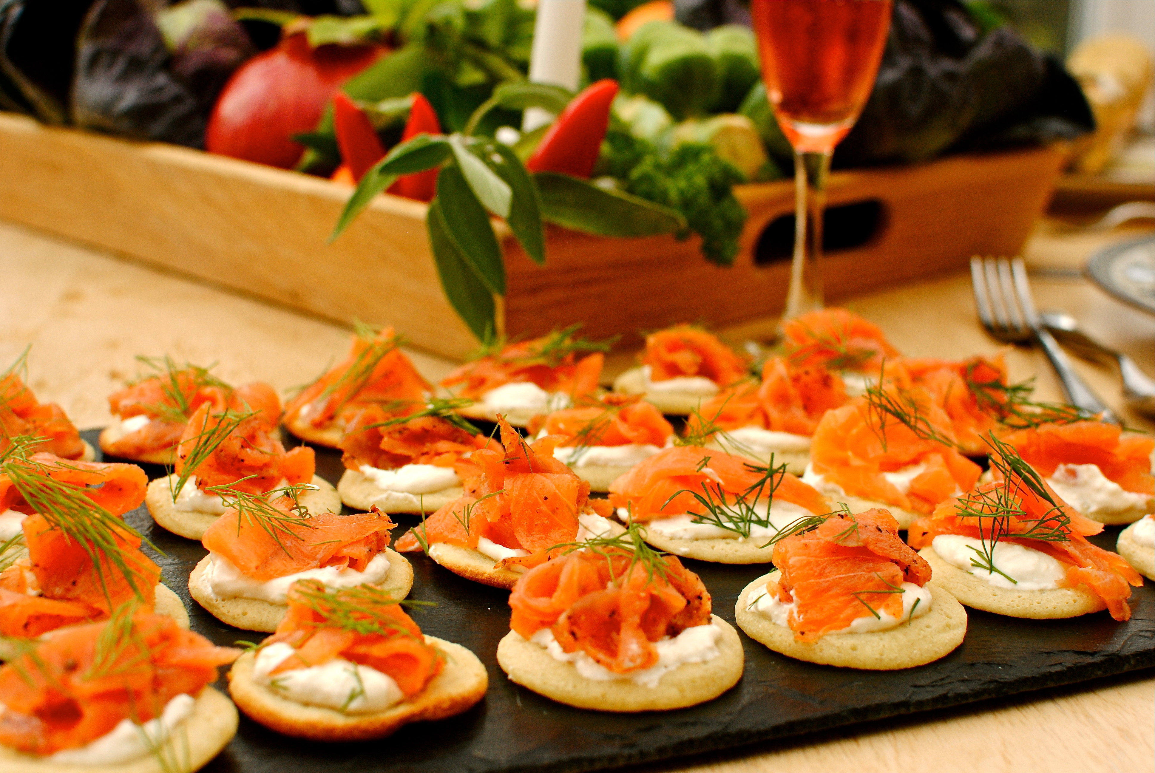 Brilliant blinis with sweet and savoury toppings food to for Canape toppings ideas