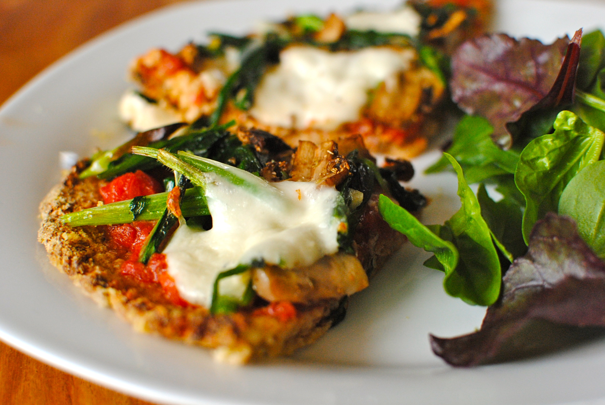 Cauliflower And Almond Pizza Crust With Fresh Sauce And