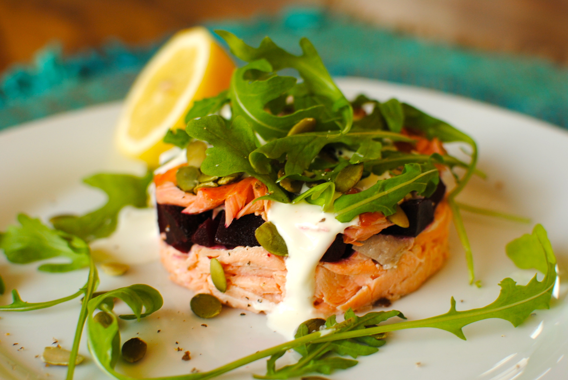 Double Salmon and Beetroot Stack with Cardamom-Lemon Creme Fraiche ...