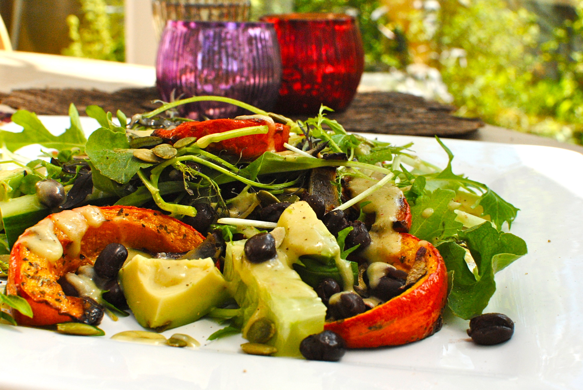 roasted uchiri kuri squash spa salad with chipotle avocado dressing