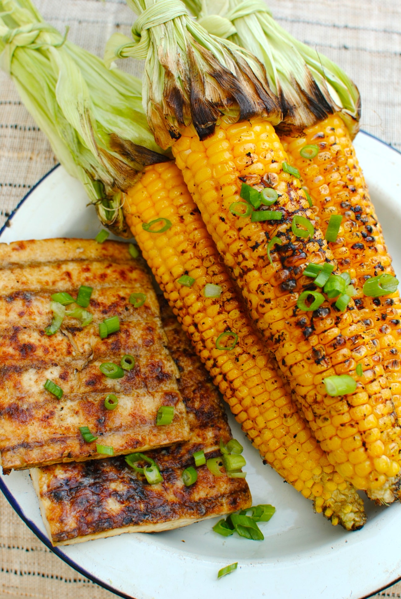 Grilled Miso-Butter Corn and Tofu – A Vegan BBQ   food to glow
