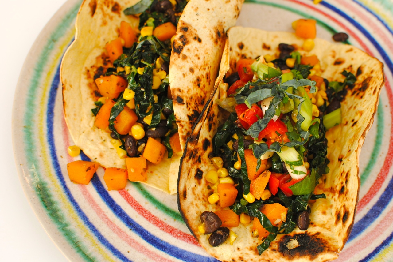 Butternut Squash, Black Bean and Kale Tacos with a Japanese Twist