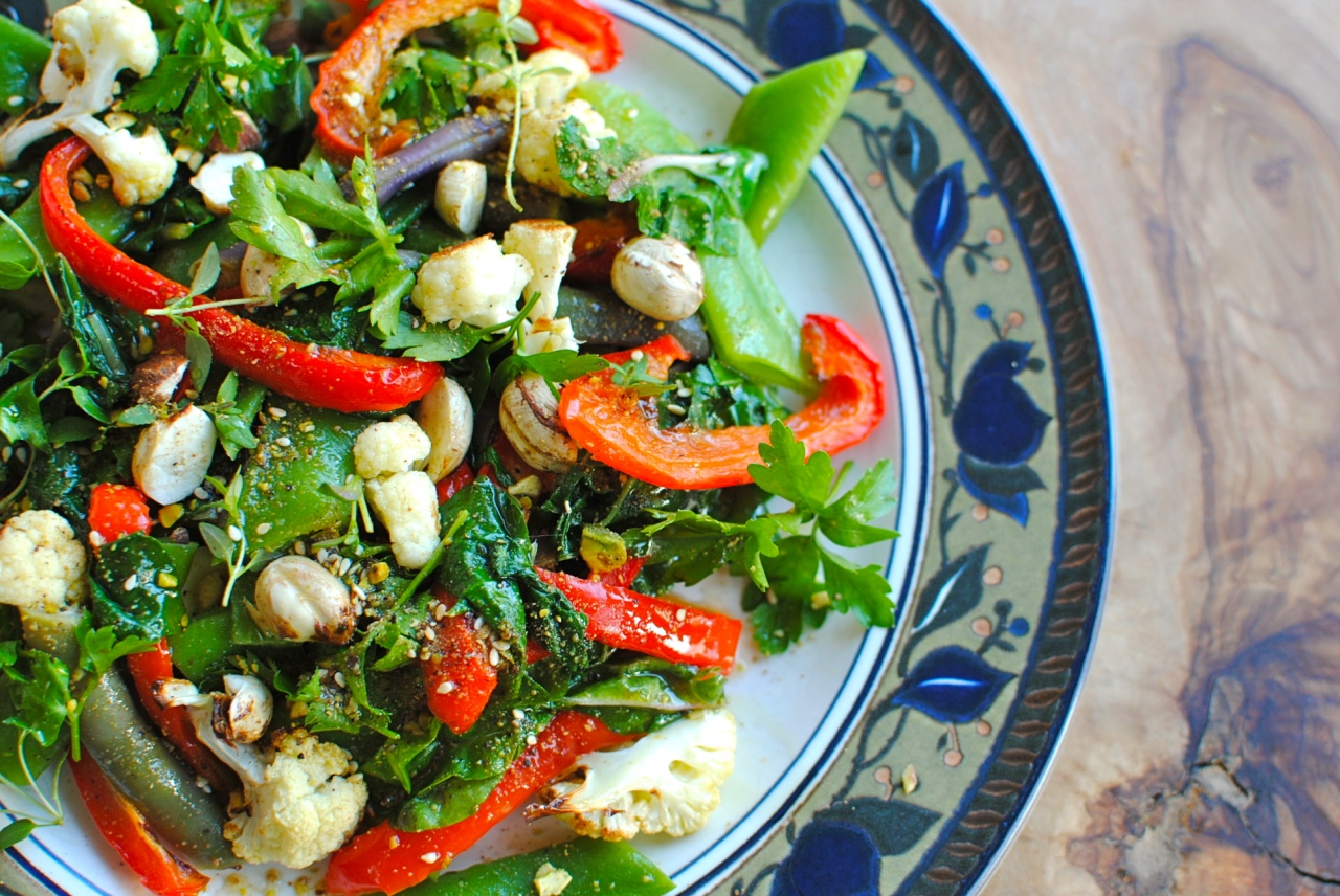 roast cauliflower and kale salad with pistachio dukkah