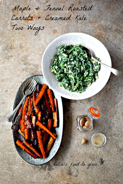 Holiday side dishes re sorted with these easily made fennel and maple roasted carrots and creamed kale (vegan option too). Both can be prepared ahead and reheated when you need them. Super for Thanksgiving, Chrisstmas or any autumn/winter meal.