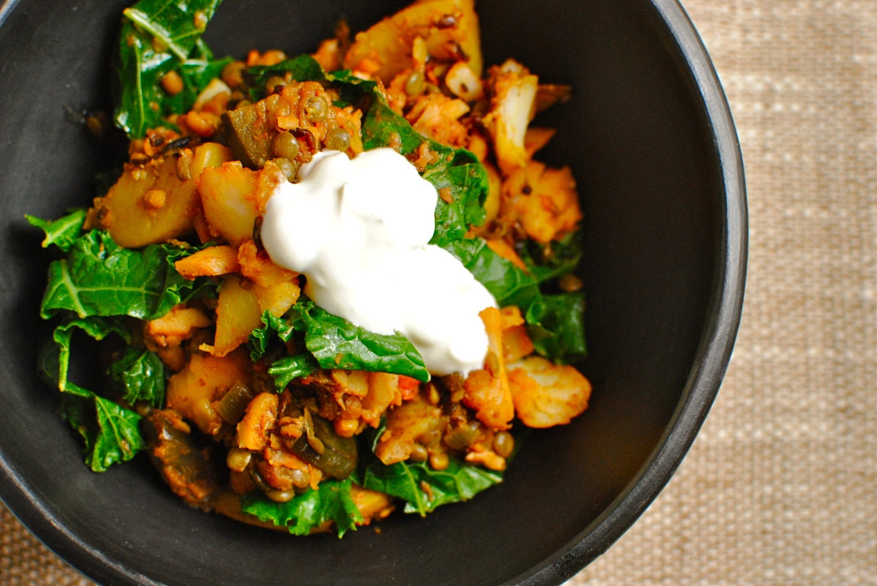 tandoori lentil potato and eggplant hash