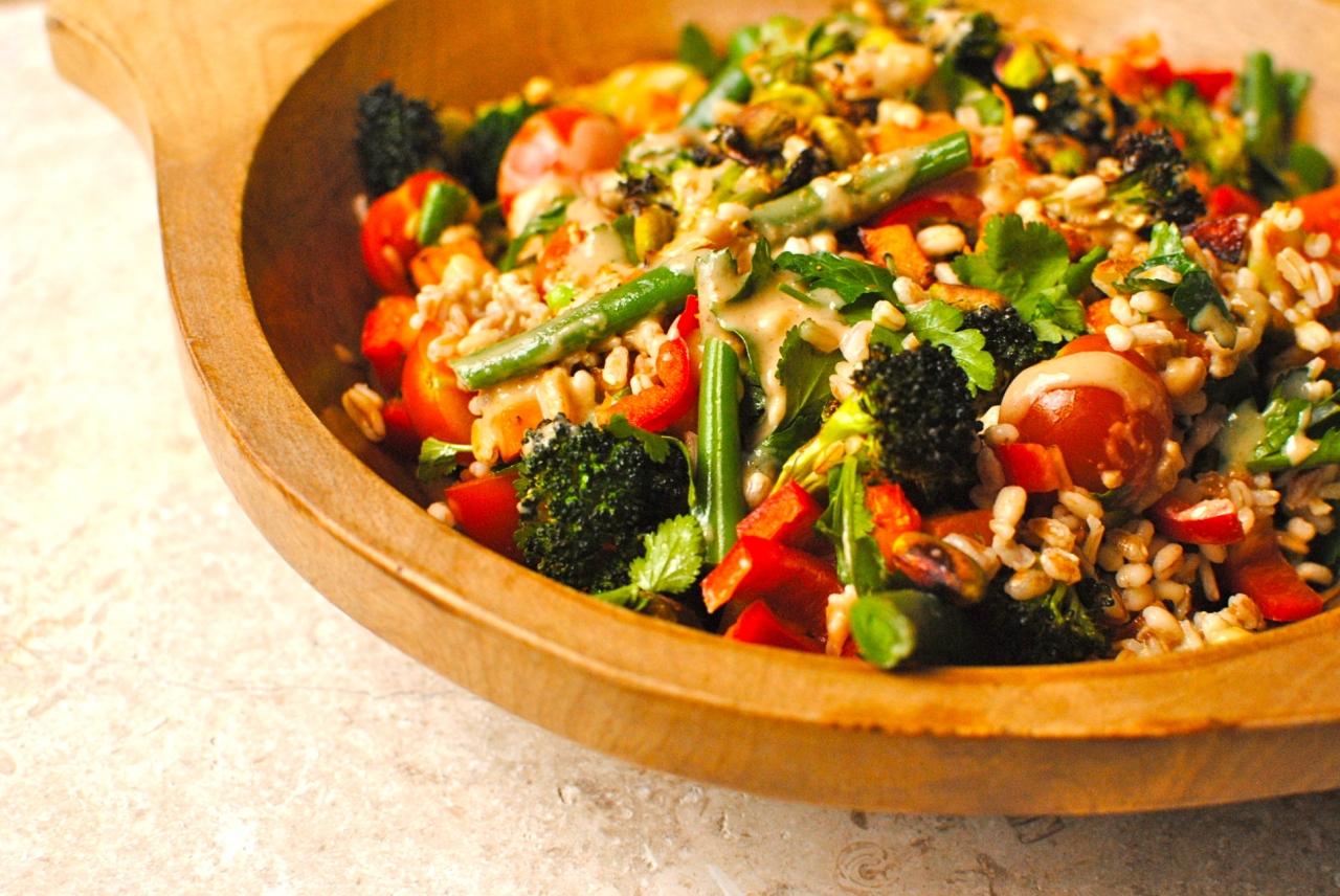 honey-miso broccoli and grain salad