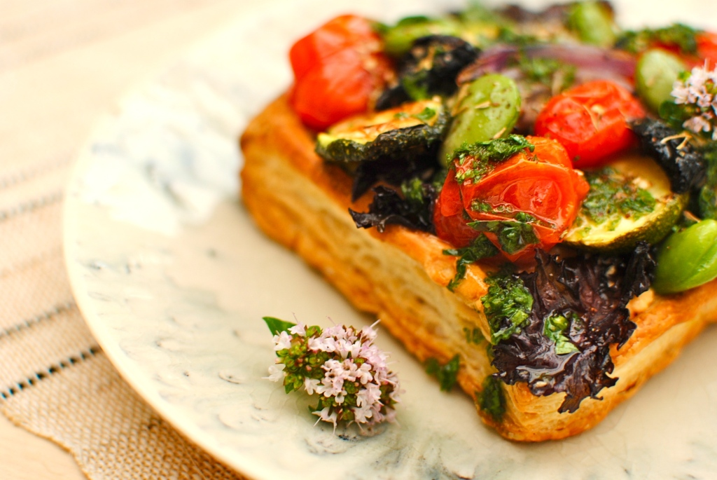 spring vegetable and hummus pastry