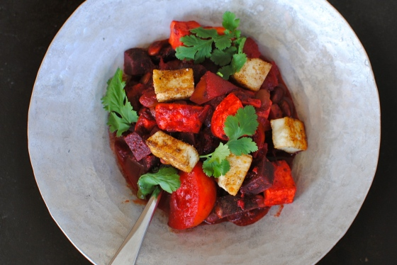 beetroot and tomato curry with paneer