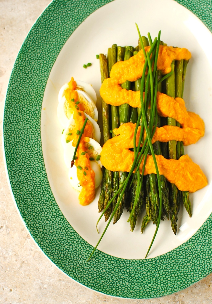 Roasted Asparagus with Carrot-Miso Dressing   food to glow
