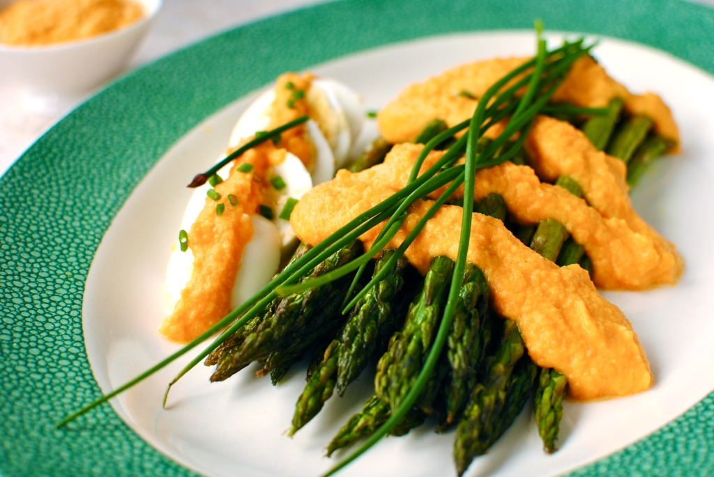 Roasted Asparagus with Carrot-Miso Dressing | food to glow
