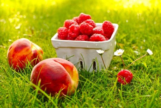 peaches and raspberries