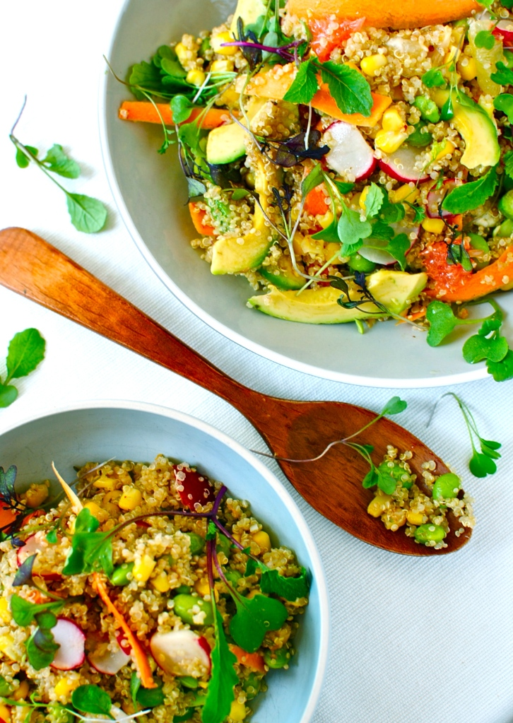 citrus quinoa bowl with avocado and edamame