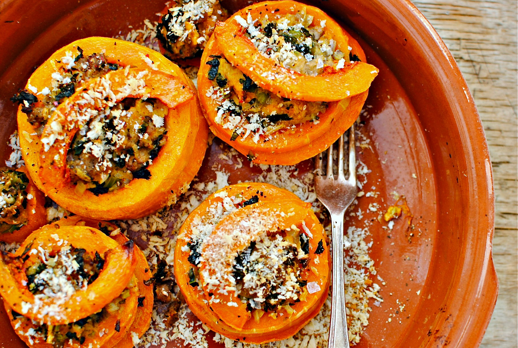 Festive FoodKale Stuffing Butternut Squash Stacks food to glow