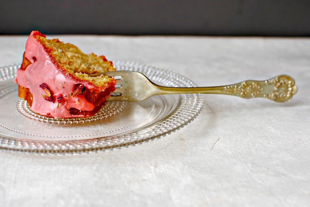 bergamot rose rhubarb cake