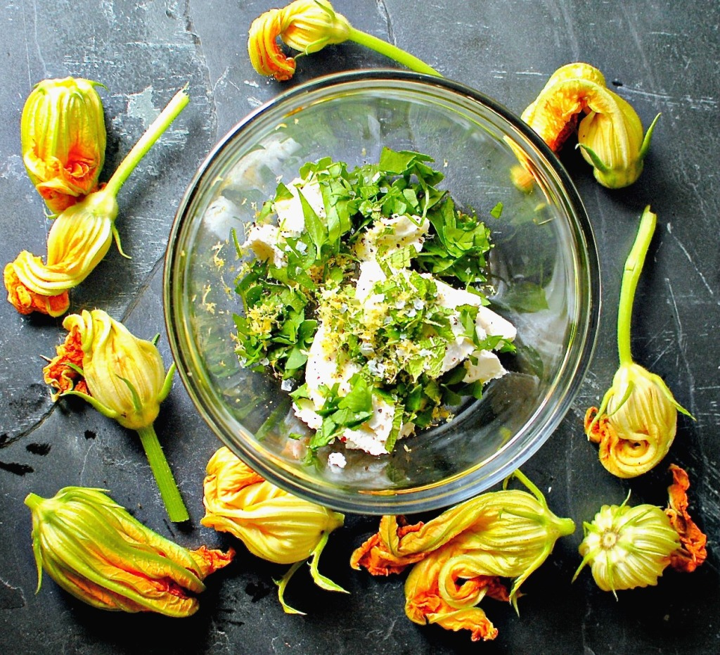 baked stuffed squash blossoms