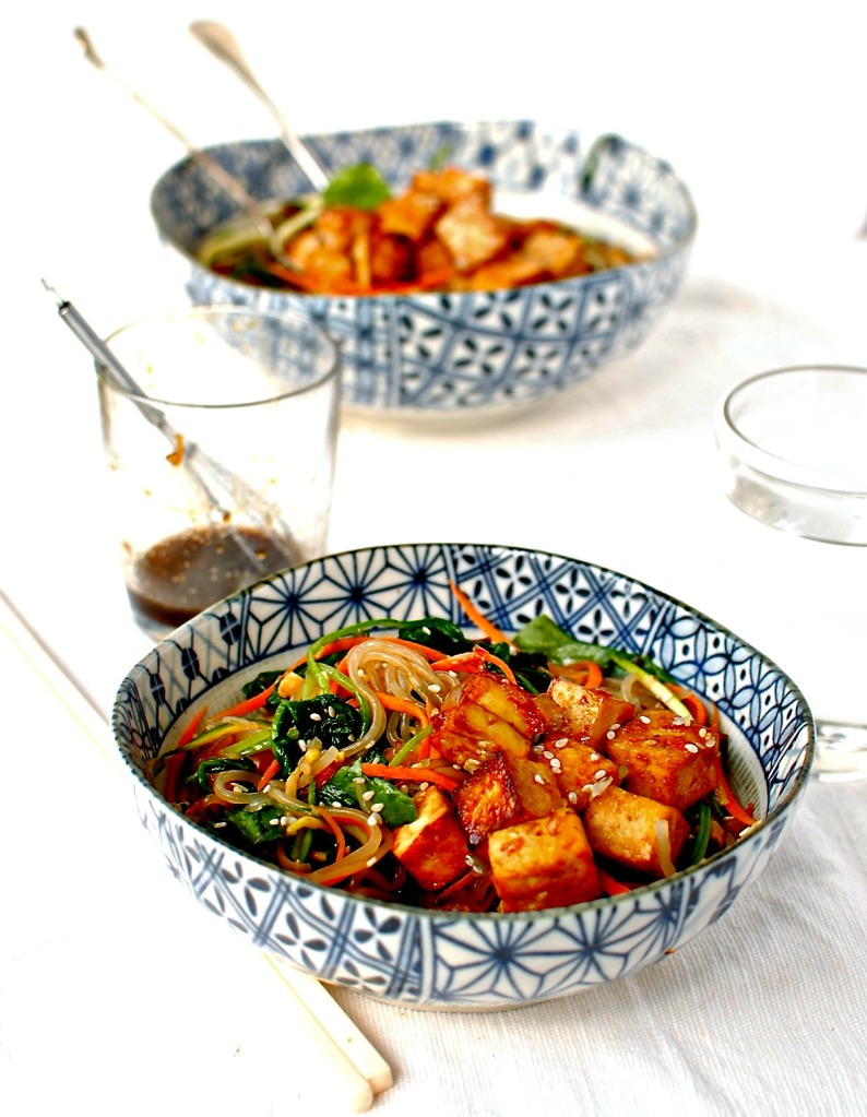 Korean Sweet Potato Noodle Stir Fry With Marinated Baked Tofu