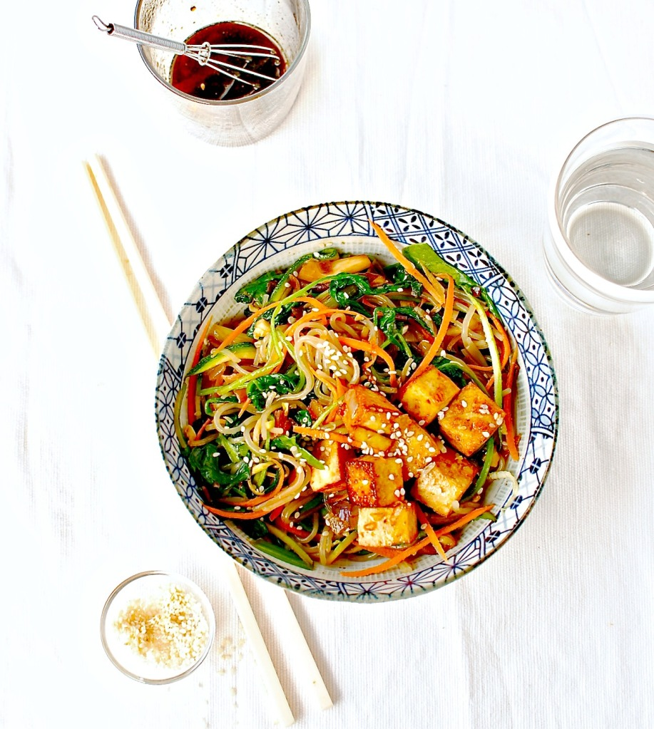 Korean Sweet Potato Noodle Stir Fry (Japchae) with Marinated and Baked ...