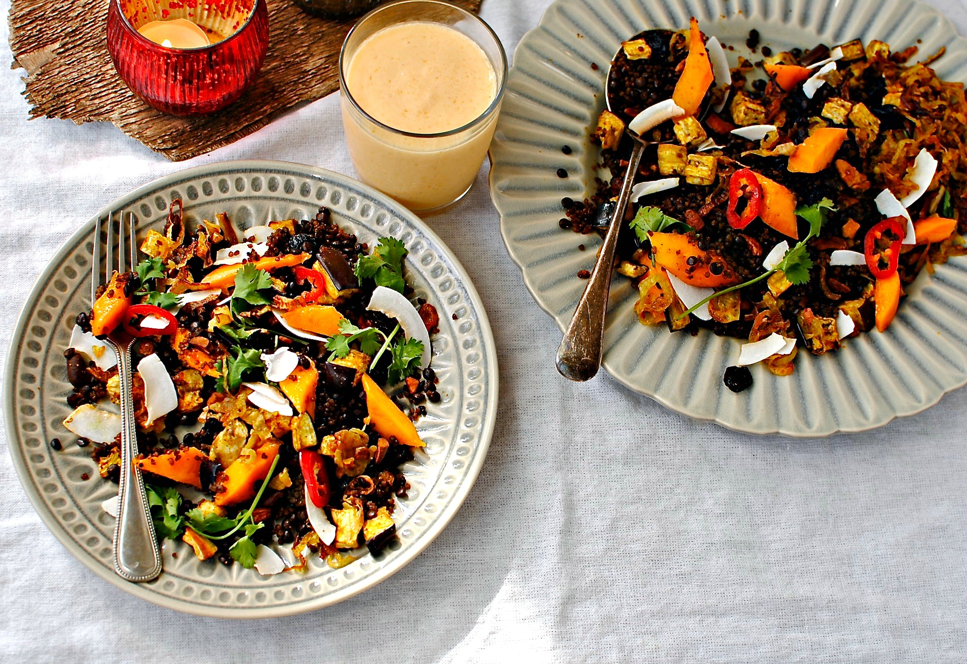 Golden Mango and Quinoa Salad with Lentils, Shaved Coconut and Crispy ...