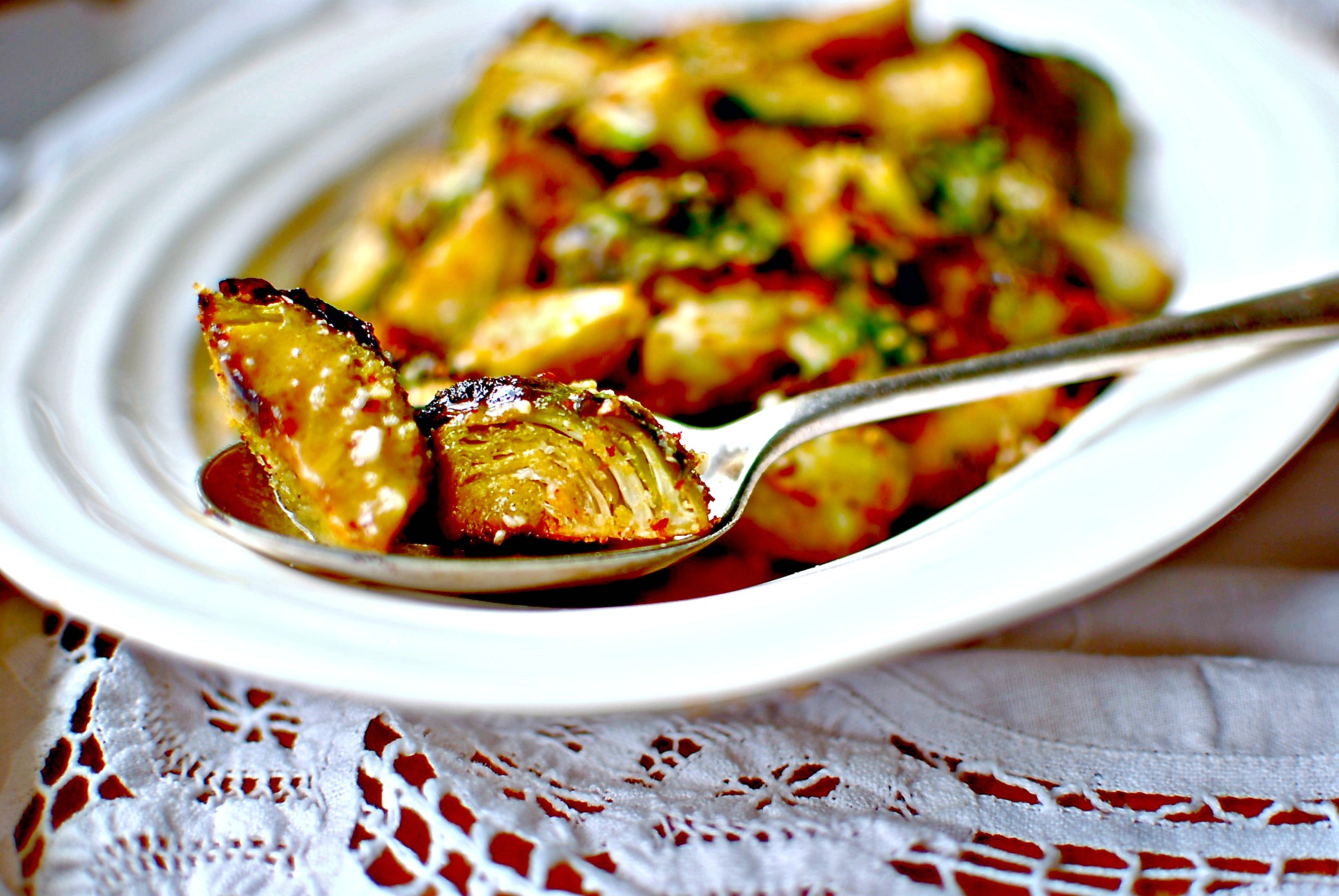 Smoky Roasted Brussels Sprouts with Maple-Dijon Vinaigrette | food to ...