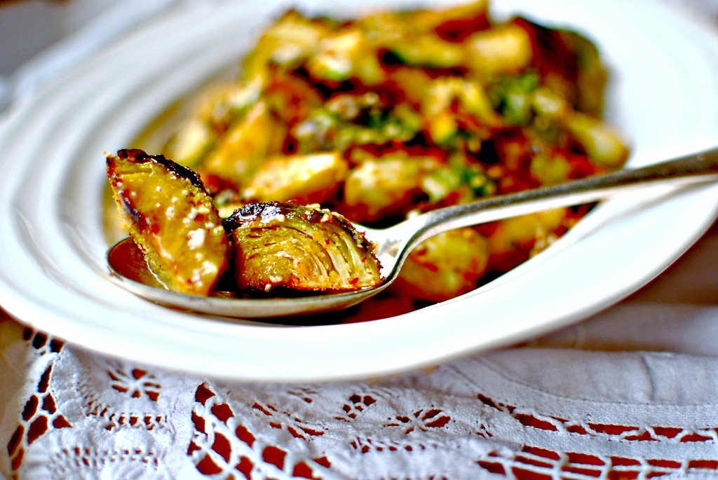 smoky roasted Brussels sprouts with maple-Dijon vinaigrette