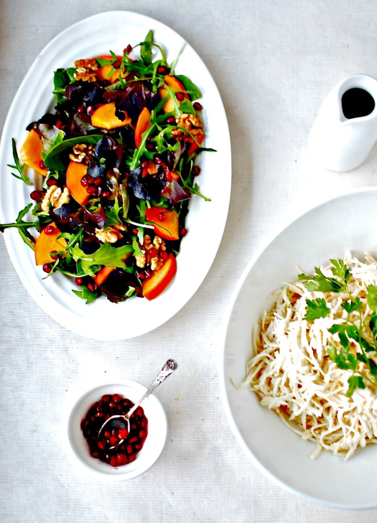 persimmon and pomegranate salad // food to glow