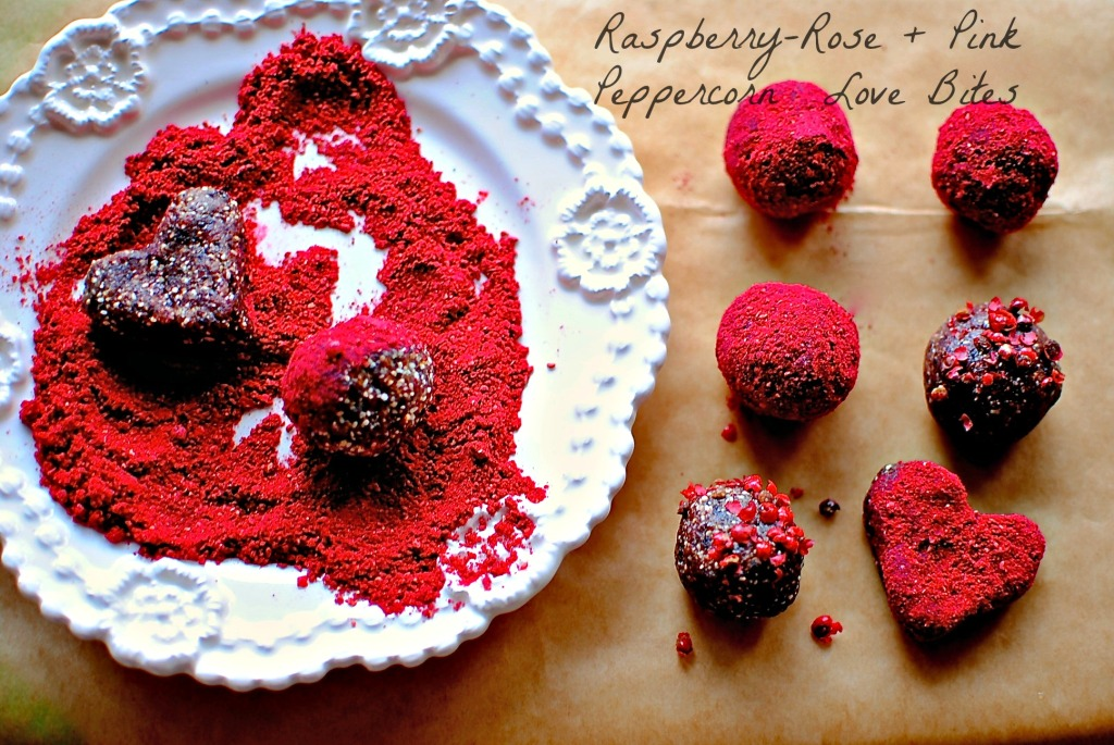 raspberry, rose, pink peppercorn love bites // food to glow