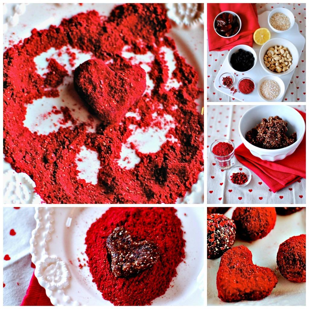 Raspberry, Rosewater, Pink Peppercorn Love Bites // food to glow