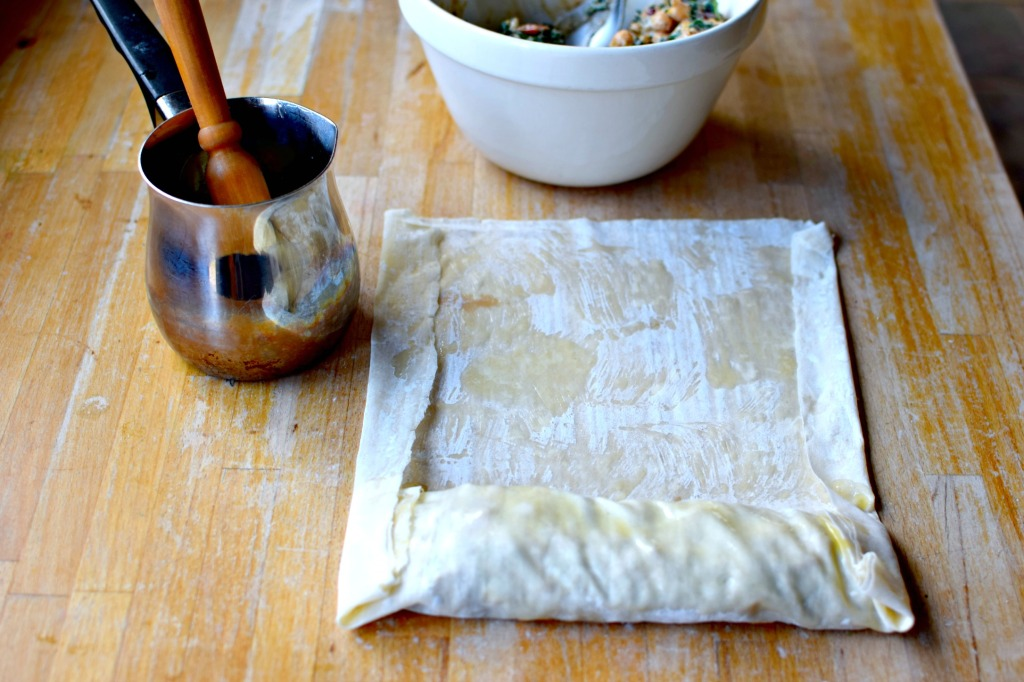 wild greens, chickpeas and ricotta borek by food to glow