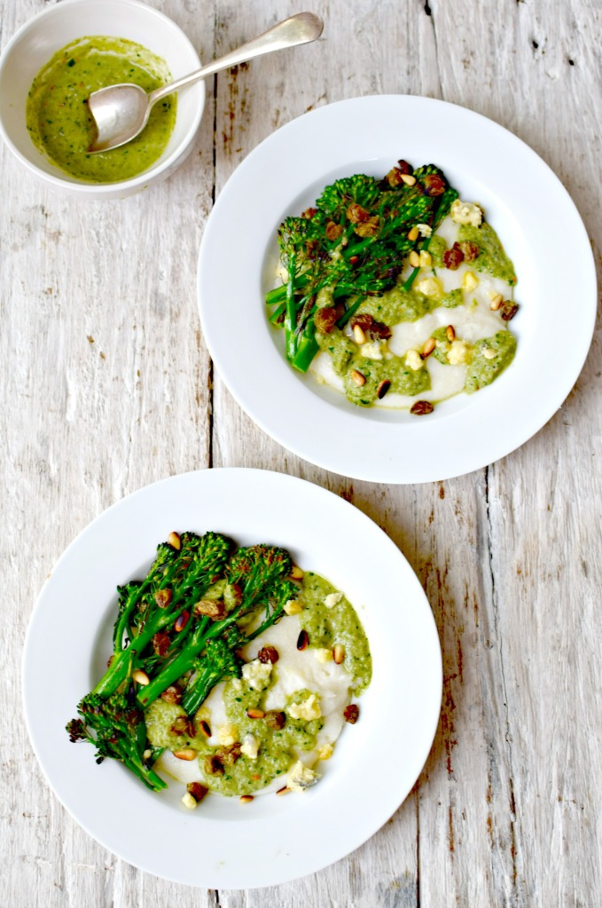 soft polenta with broccoli-blue cheese sauce // food to glow
