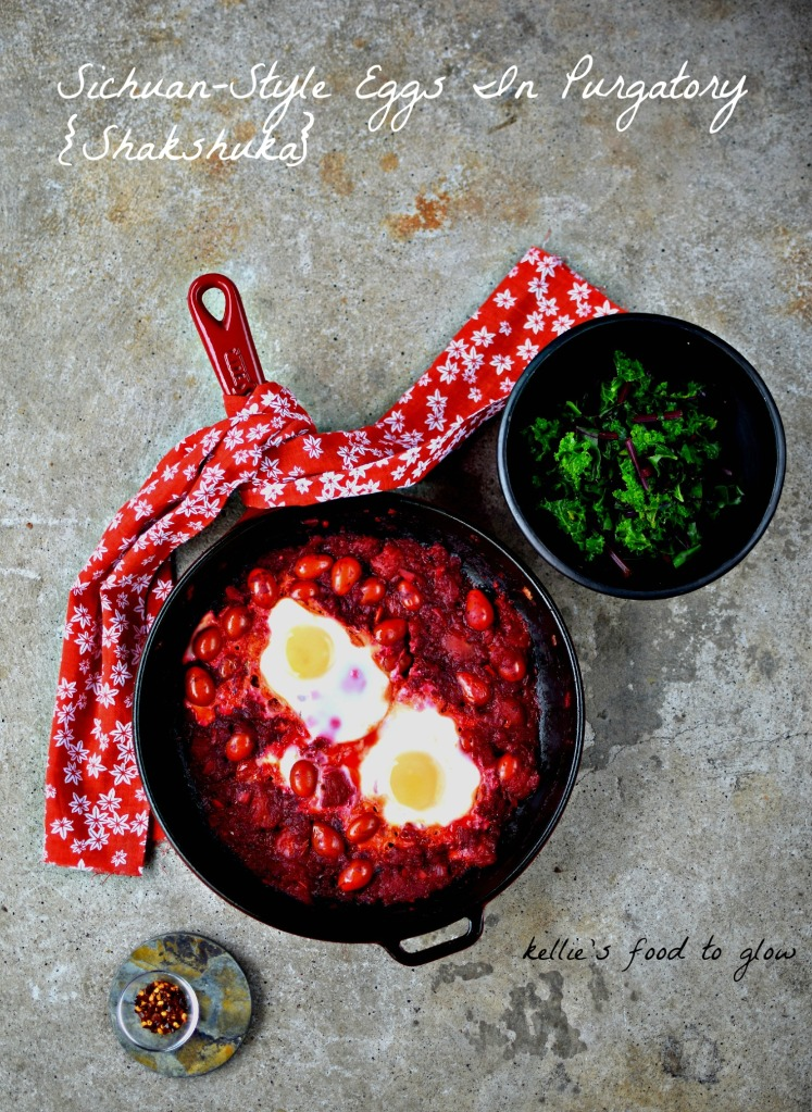 Shakshuka - spicy tomatoes and eggs - leaves its home in North Africa and heads to China. This is a perfect fast and healthy solo breakfast, brunch or supper, but is easily scaled up to share. If you care to. Make plenty of the spicy, tongue-tingling sauce and keep it in your freezer for those times when you need a quick wake up or a bit of a pep up after a long night.