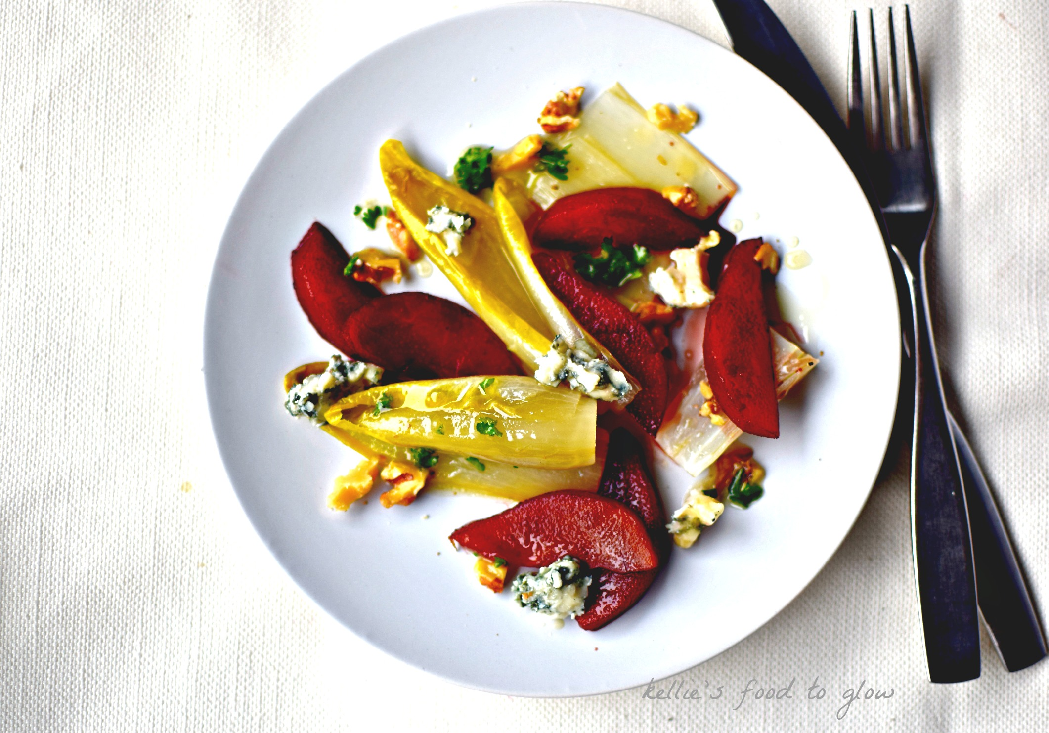 Easy holiday starter recipe port poached pears belgian endive this easy nearly make ahead salad of port poached pear blue cheese and forumfinder Choice Image