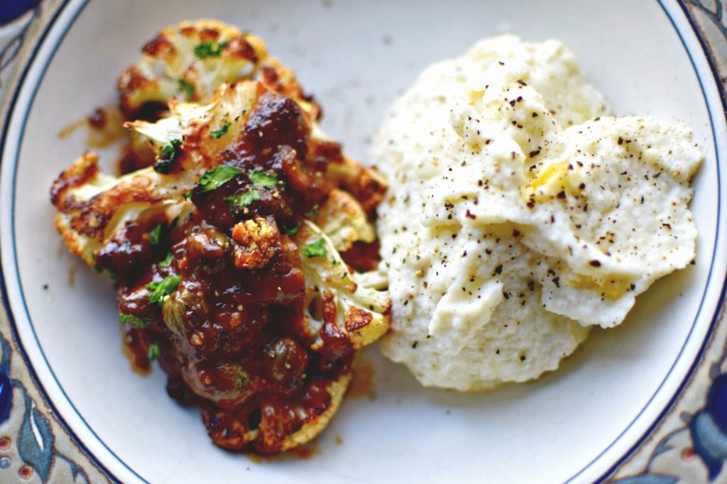 cauliflower marbella - a vegan version of the classic Mediterranean-style dish, Chicken Marbella