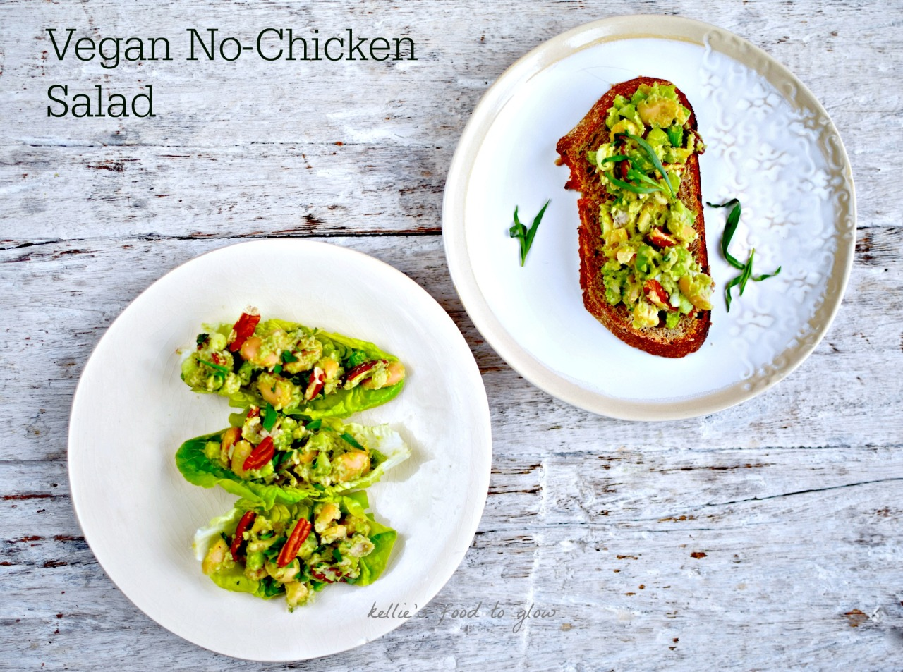 How can a recipe with no chicken and no mayo be a chicken salad? You would be surprised. White beans, avocado mayo, and the usual suspects of celery, salad onions, tarragon and nuts (in this case, pecans) give a credible imitation without involving our cluckin' lovely feathered friends.