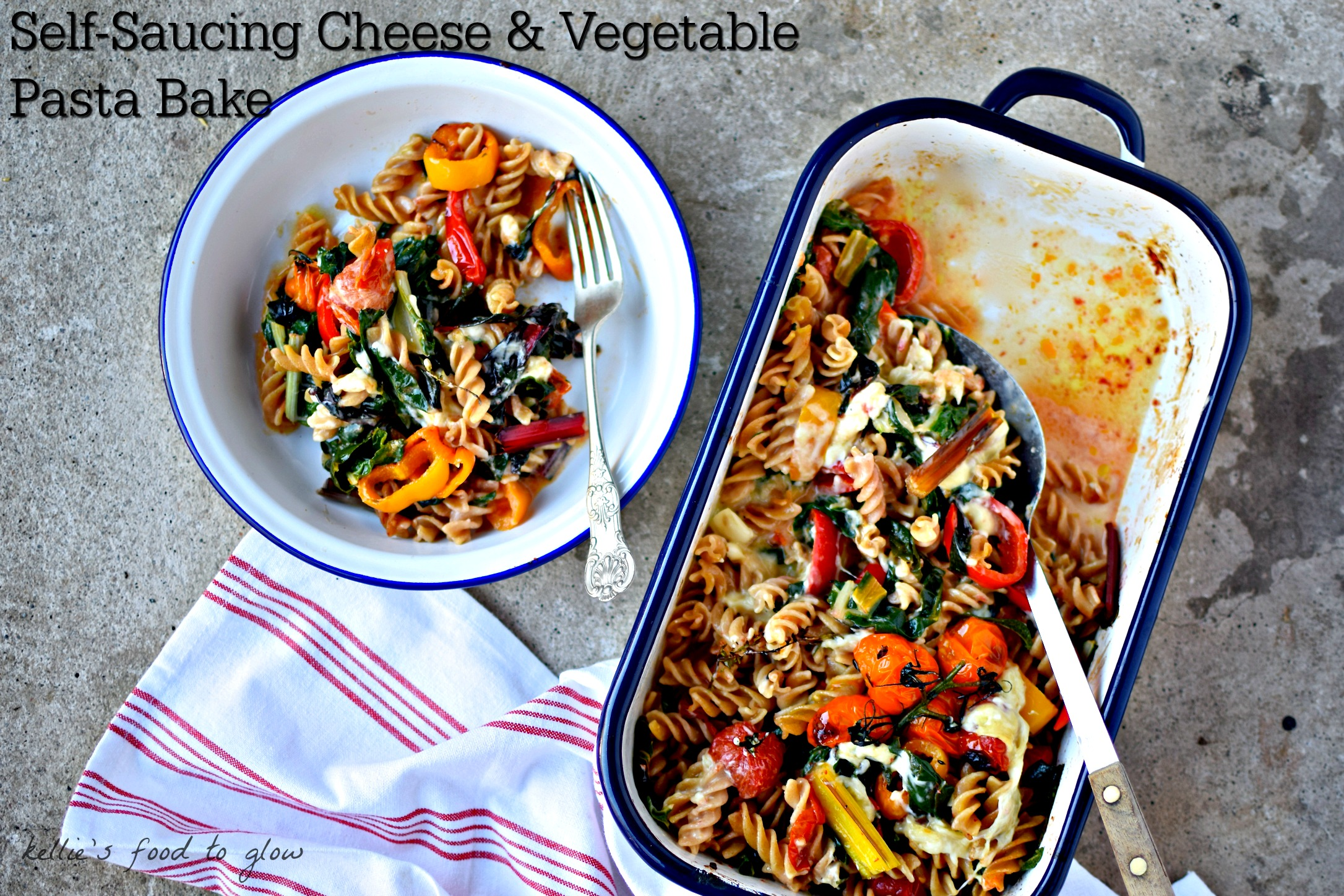 Self saucing cheese roasted vegetable pasta bake a nourishing a good quality gooey cheese is all you need to make a luscious sauce for this sciox Choice Image