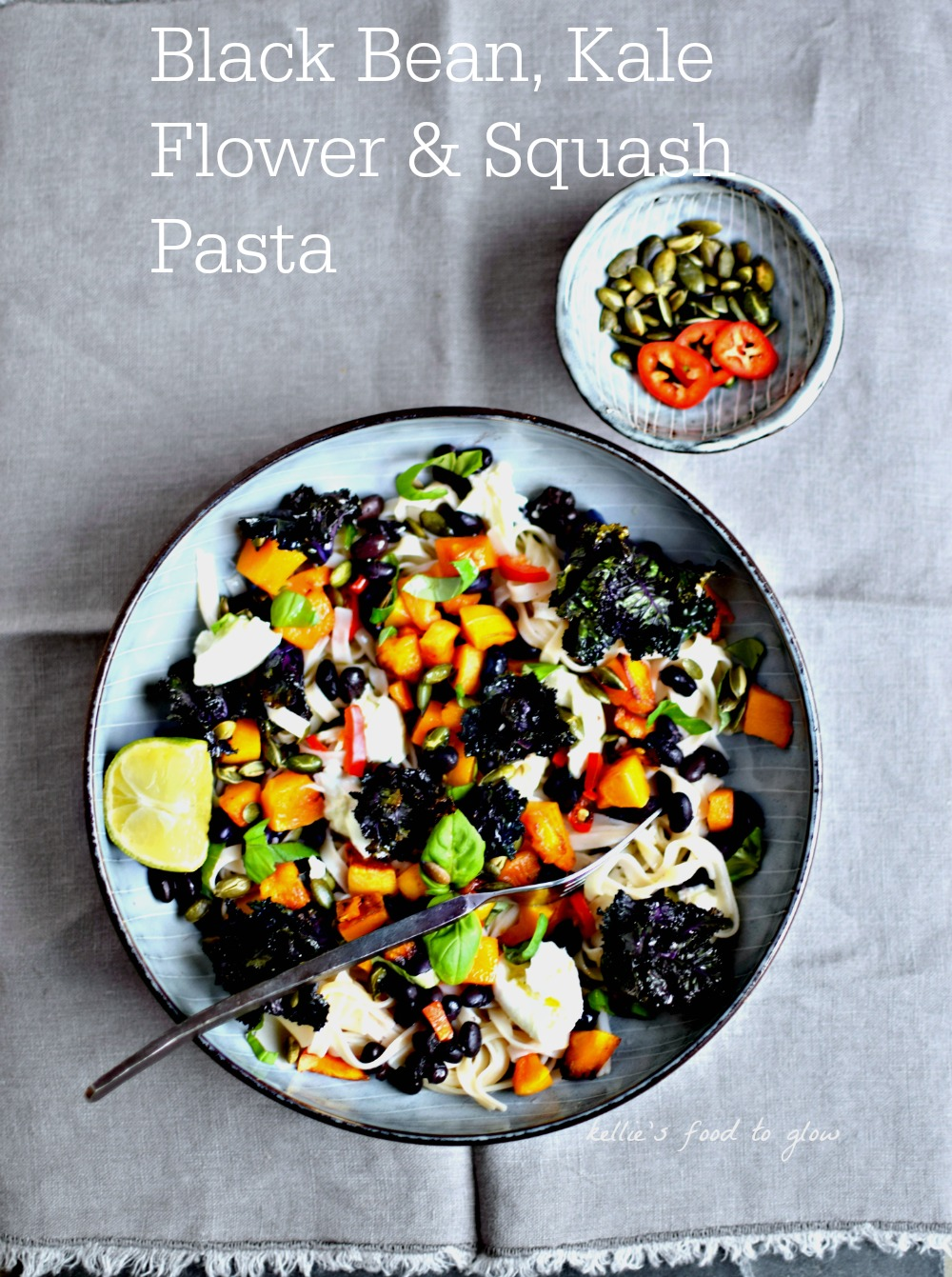 This hearty yet light pasta supper is full of colour and texture, and is perfect for a midweek meal. Easily vegan and gluten-free too.