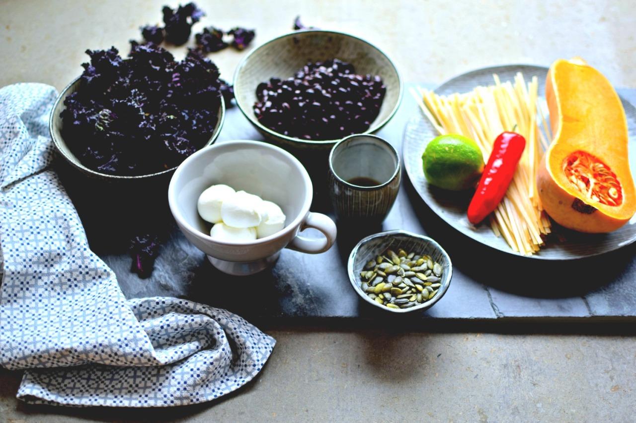 black-beans-kale-flowers-squash-pasta
