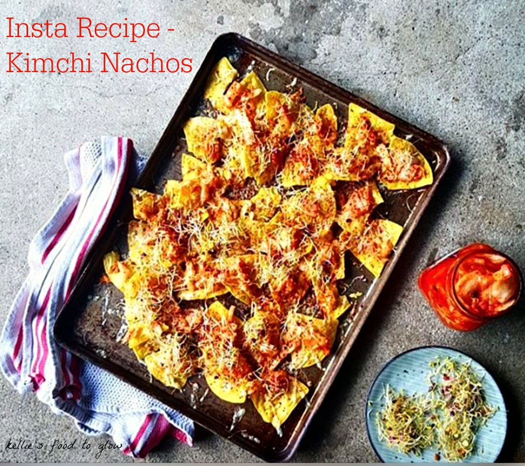 Kimchi nachos - healthy trash food? Maybe yes, maybe no. But either way it is so good and made in a snap. Liven up your telly viewing with this Korean-style snack