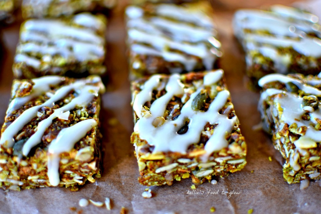 Health-enhancing ingredients mixed into a no-bake granola bar. Perfect for healthy snacking and lunch boxes. Vegan and easily gluten-free.