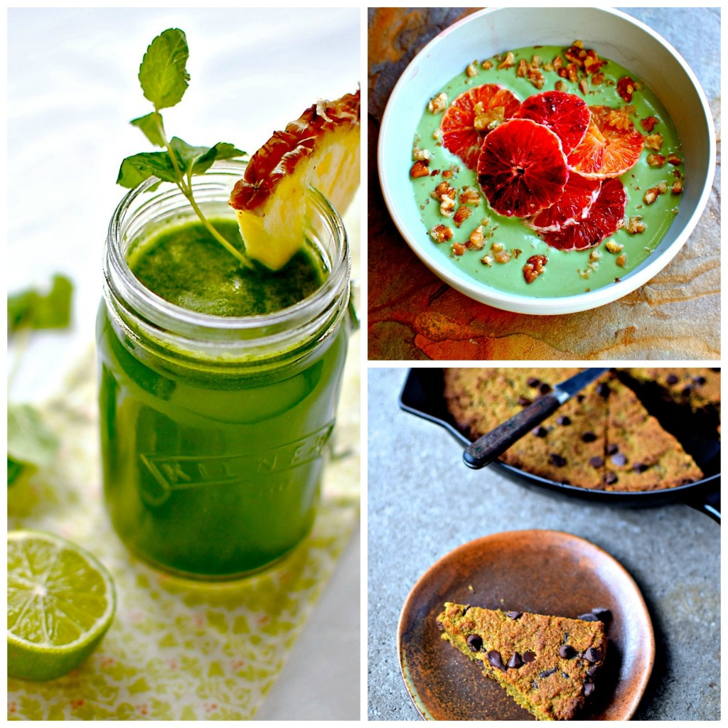 Happy Tummy Tonic, Matcha Yogurt Breakfast Bowl, Matcha Almond Skillet Blondies - by kellie's food to glow