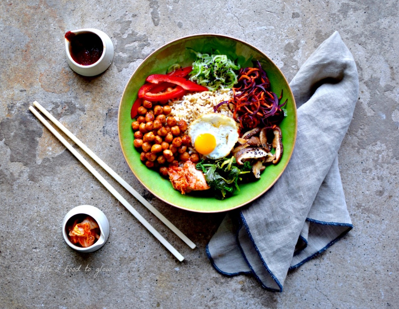 Korean Rice Cake Recipe Gochujang: Korean Rice Bowl With Gochujang Chickpeas Recipe (Bibimbap