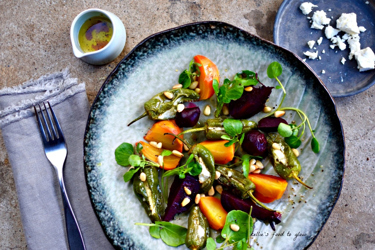 Earthy beets married with roasted, feta-stuffed Padron/shishito peppers make a delightful and simple starter anytime of the year, but especially when beets are in season where you are.