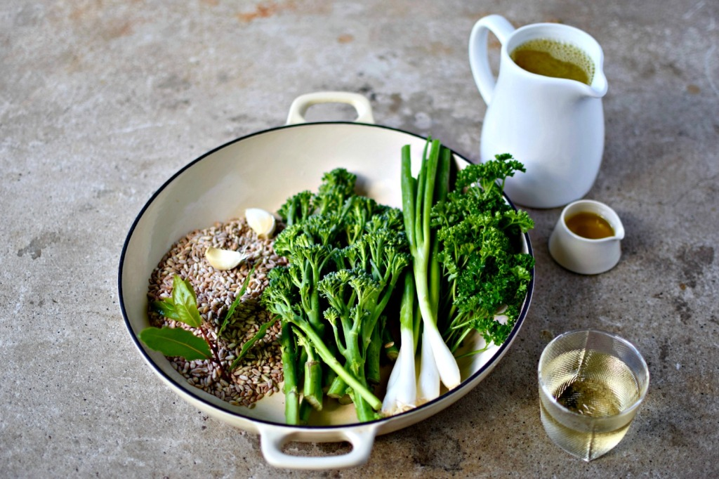 Forget stirring and stirring to get your perfect risotto, try baking this barley version, studded with Tenderstem and topped with garlic-butter langoustines or prawns. An easy, midweek dinner.
