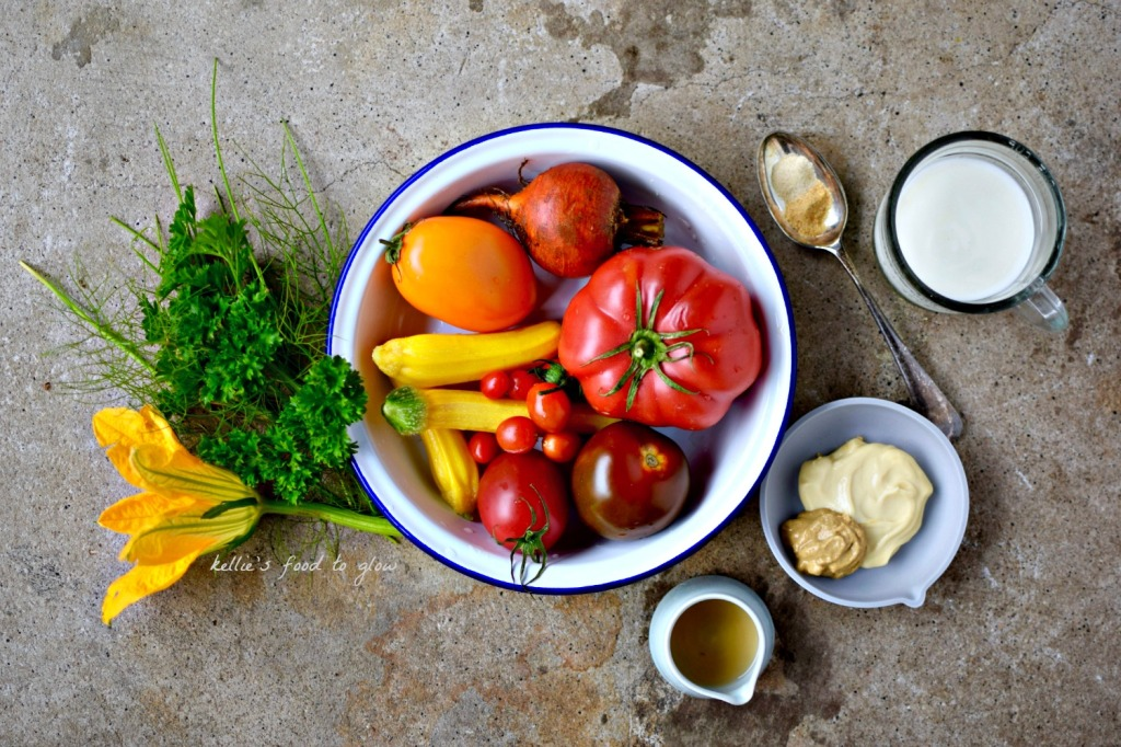 mise en place of ranch dressing and salad